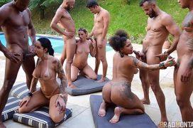 Orgia na piscina com brasileiras e vários dotados e safados